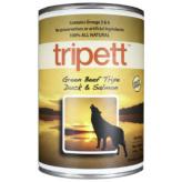 【Tripett】トライペット グリーンビーフトライプ ダック&サーモン 396g×12缶