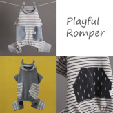 ルイスドッグ【louisdog】Playful Romper Grey/Grey Stripes/Charcoal Stripes