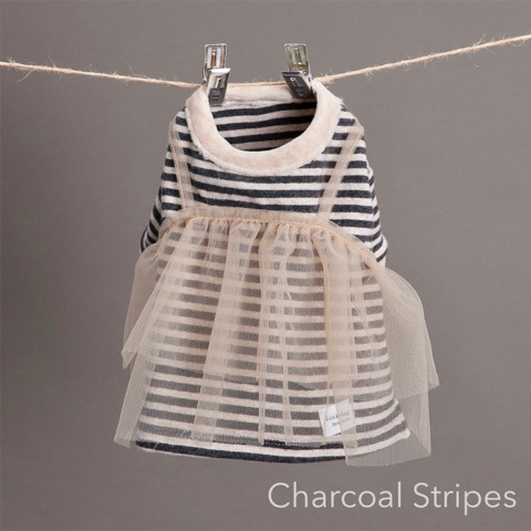 ルイスドッグ【louisdog】TuTu Tiered T-shirts Charcoal stripes/Nude Tutu