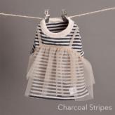 ルイスドッグ【louisdog】TuTu Tiered T-shirts Charcoal stripes/Nude Tutu