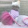ルイスドッグ【louisdog】Egyptian Cotton Harness Set/Check Pink/Grey Check