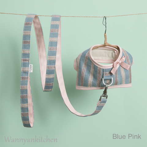 ルイスドッグ【louisdog】Candybar Harness Set/Blue Pink Stripes